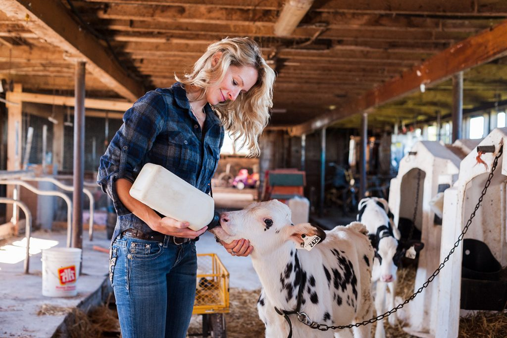 Dairy Farmers of Canada girl with rooster