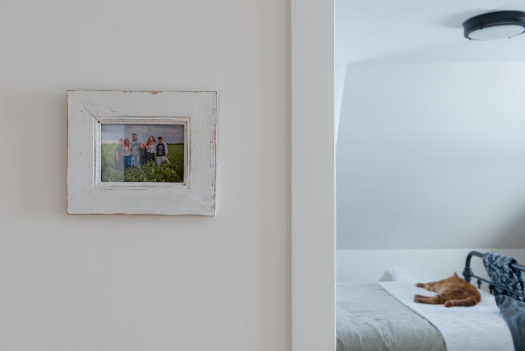 farm family photo decor in white distressed frame