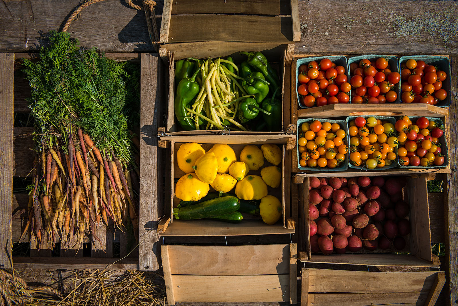 vegetables in crates